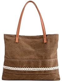 Qflmy Women's Canvas Travel Shopping Shoulder Hand Bag Tote Bag
