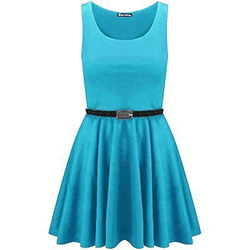Generic - Robe - Patineuse - Sans Manche - Femme Turquoise