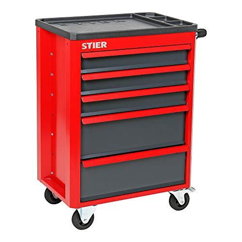 STIER Werkstattwagen Basic+, Montagewagen mit Kunststoffabdeckung, unbestückt - leer, Werkzeugwagen, Max. Belastung 185 kg