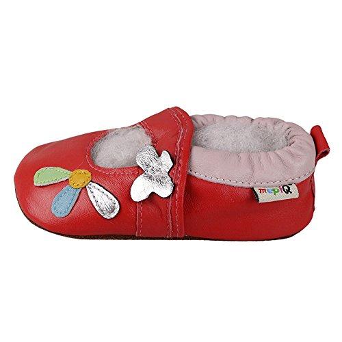 Freefisher Baby Lauflernschuhe, Krabbelschuhe, Babyschuhe, Sommer Kollektion Blume Rot