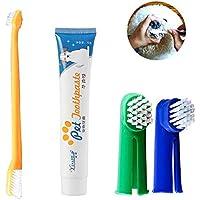 (4 Pcs) Kit de Cepillo de Dientes de Dedo para Perros, Set Higiene Dental, Pasta Y Cepillos para Todas Las Mascotas, Gatos (Sabor de Carne De Vaca)