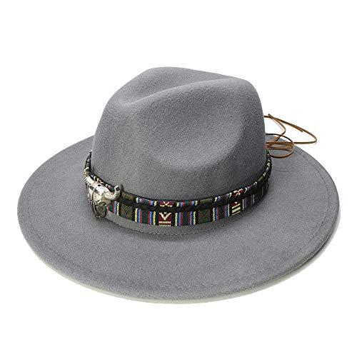 Ying xinguang Frauen Männer Breiter Krempe Cap Fedora Panama Hut Für Frauen Mit Legierung Bull Head Jazz Bowler Hut ! (Farbe : Grau, Größe : 56-58cm) (Für Frauen Hüte Bulls)