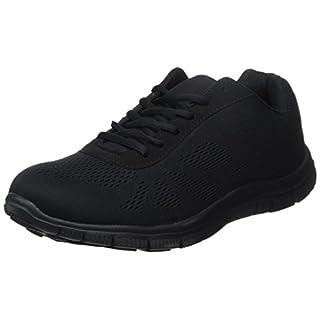 Mens Get Fit Mesh Running Trainers Athletic Walking Gym Shoes Sport Run - Black/Black 44 - BT0047