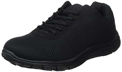 Mens Get Fit Mesh Running Trainers Athletic Walking Gym Shoes Sport Run - Black/Black 41 - BT0047