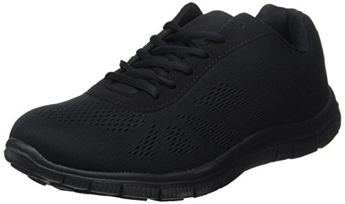 Mens Get Fit Mesh Running Trainers Athletic Walking Gym Shoes Sport Run - Black/Black 44 - BT0047