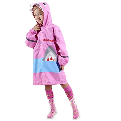 Regen Tanz Kostüm - Longzjhd Mädchen Regenmantel Leicht Regenbekleidung Unisex Wasserdicht Schulranzen Atmungsaktiv Regenjacke Hai Outdoor Regen Overall mit Tiermuster Kapuze für Jungen Mädchen