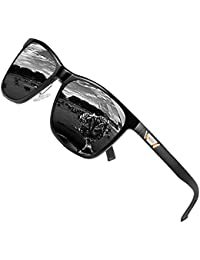 c6f715701fe2 DUCO Unisex Metal Square Polarised Sunglasses with UV400 Protection for  Outdoor Sports 3029H