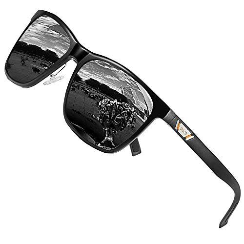 DUCO Metall Sonnenbrille Eckig Unisex Polarisierte Sonnenbrille mit UV400 Schutz für Outdoor Sports 3029H (Schwarz/Grau) -