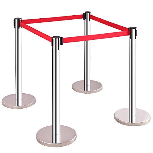 COSTWAY 4 x Personenleitsystem Abgrenzungsständer Absperrständer Absperrpfosten Gurtpfosten Absperrung mit 2 M Gurtband Rot