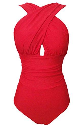 Minetom Damen Sommer Sexy Badeanzug Mit X-Form Ausschnitt Bauchweg Monokini One-piece Groß Größe Schwimmanzug Bademode Rot DE 34 (Crew J Trainingshose)