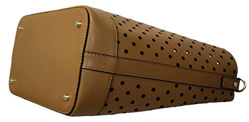135430 Femmes dames Sac Schopper épaule Satchel en cuir dentelle motif noir rose taupe-brun, Largeur = 18cm, Longueur = 35cm, Hauteur = 31cm. taupe-brun