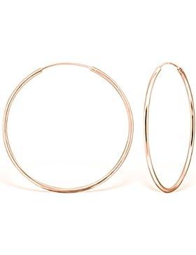 DTPsilver - Damen - Groß Creolen - Ohrringe 925 Sterling Silber und Rosen Vergoldet - Dicke 2 mm - Durchmesser...