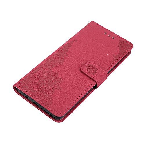 Phenix Blumen Prägemuster Faux Leder Horiontal Folio Stand Case mit Lanyard Card Slots für Samsung Galaxy Note 8 ( Color : Blue ) Red