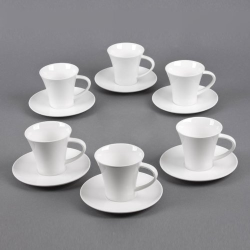 TABLE PASSION - COFFRET 6 TASSES + SOUS TASSES CAFE 11 CLASSICA BLANC
