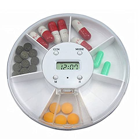 LUOEM Pill Dispenser Pill Box with Alarm Electronic Medication Reminder 7 Compartment (White)