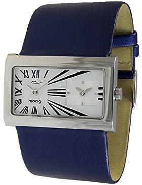Moog Paris - Stars Damen Uhr mit Weiß Zifferblatt, Blau Armband aus Echtem Leder - Hergestellt in Frankreich