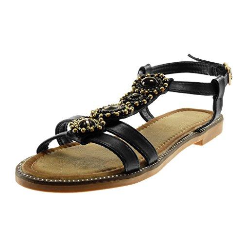 455240d02266e5 Angkorly Scarpe Moda Sandali Cinturino Gladiatore Donna Perla Gioielli  D Oro Tacco a Blocco 1.5