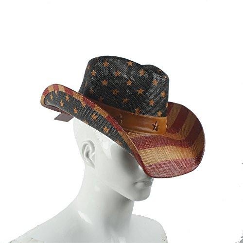 DIMDIM mychome Frauen Herren Hat Western Cowboy Hat Jazz Kirche Godfather Sombrero Fedora Cap, Natur, 55-58 cm