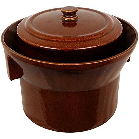 K&K Keramik Form 1 - Olla de fermentación (5 litros, cerámica de gres, incluye tapa y base de piedra, paredes de 15 mm de grosor)