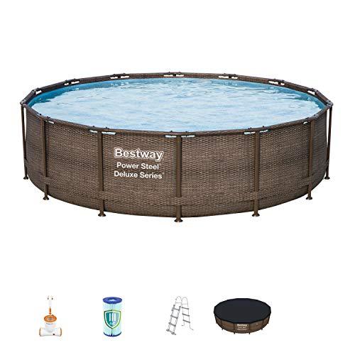 Kit piscine Bestway en acier de la série Deluxe, dimensions: 427 x 107cm, avec cadre en acier, pompe à filtre et accessoires