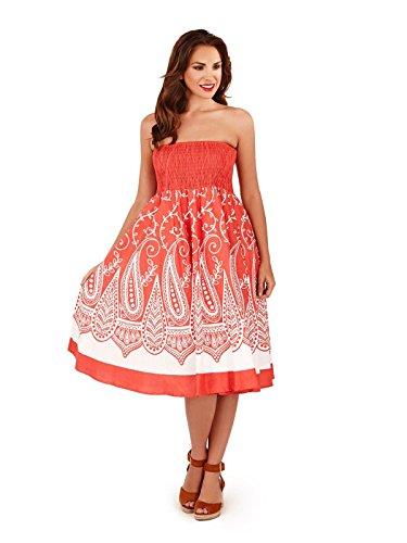 Damen Pistachio Paisley Wirbel 2 In 1 Kleid Damen Bandeau Midi Oder Maxi Rock Koralle