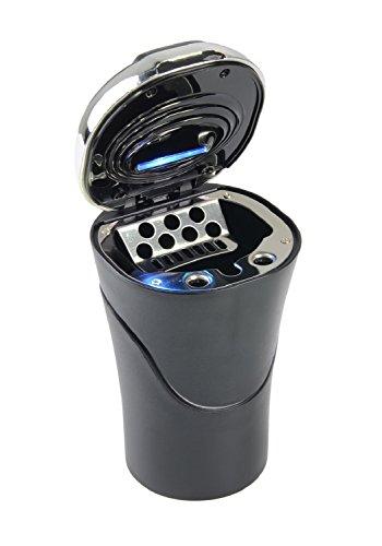 DEBAIJIA Auto Aschenbecher LED Beleuchtet mit Deckel Kreativ Anzünder Schwarz/Silber Test