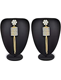 The Luxor Traditional Gold Plated American Diamond Dangler Tassel Earrings for Women