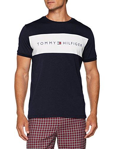 Tommy hilfiger rn tee ss logo, top pigiama uomo, blu (navy blazer 416), large