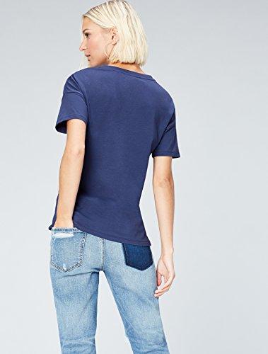 FIND Damen T-Shirt mit Perlen Blau (Twilight Blue)