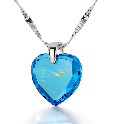 Pendentif Coeur - Bijoux Romantique en Argent 925 avec I Would Fly Away With You inscrit à l'Or 24ct sur un Zircon Cubique en Forme de Coeur, 45cm - Bijoux Nano Bleu Lagon