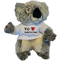 Koala personalizada de peluche (juguete) con Amo Barcelona en la camiseta (ciudad /