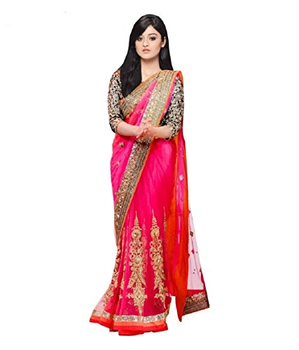Mafiya Fashion Designer Pink Net Saree With Bollywood Style Blouse