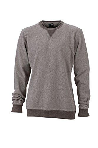 JAMES & NICHOLSON Klassisches Sweatshirt in French-Terry Qualität grey-melange/black-melange