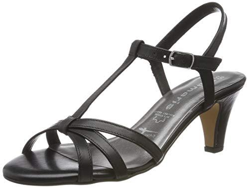 Tamaris 1-1-28360-22, Sandali con Cinturino alla Caviglia Donna, Nero (Black Leather 3), 42 EU
