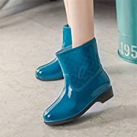 XIAYUT Rain Boots For Women,Fashion Simple Outdoor Lake Blue Single Shoes Middle Tube Rubber Waterproof Rain Shoes Low-Heeled Ladies