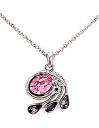 Golden Peacock Pink & Silver-toned Princess Necklace