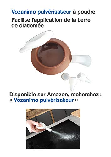 Vozanimo Terre de Diatomée Blanche 10Kg Non calcinée/Alimentaire E551-100% Naturelle- Garantie sans additifs Idéale Contre Les puces, tiques, poux Rouges, punaises de lit, etc.