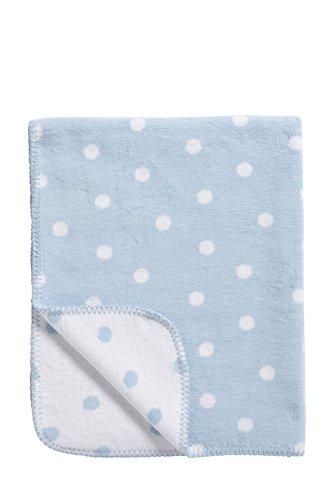 Meyco 1531051 Babydecke / Kuscheldecke aus 100 prozent Baumwolle, 75 x 100 cm, Punkte blau / weiß