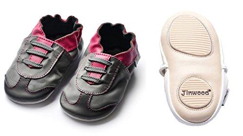 Jinwood designed by amsomo - ATHLETICS fuchsia/grey - mini shoes - Sport - Hausschuhe - Lederpuschen - Krabbelschuhe Grau
