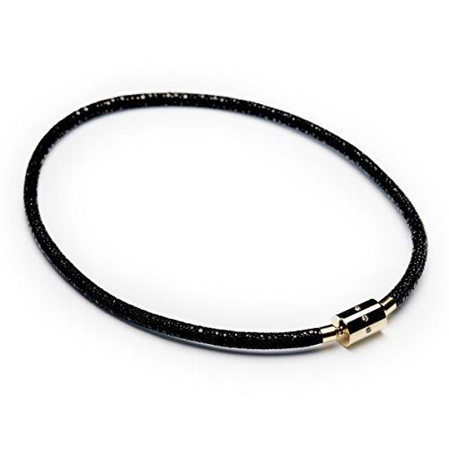 Rochenleder-Collier noir, Länge 45 cm