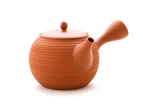 Gyokko - Japanische Tee-Kanne Tokoname TOBIKANNA SHU. Rot, Handmade auf der Töpfer-Scheibe. Unglasiert, integriertes Keramik-Sieb