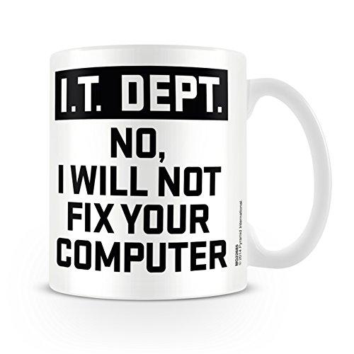 Pyramid Generic IT Dept. I Will Not Fix Your Computer 11oz/315ml Kaffeetassen, Mehrfarbig