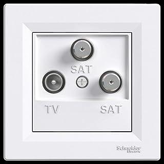 SAT SAT TV Dose End, Komplett, Antennendose, Schneider Electric, Asfora–Weiß, neue