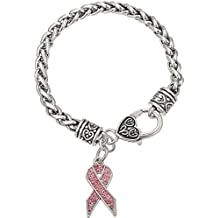 lemegeton campaña contra el cáncer de mama lazo rosa Rhinestone encanto pulsera de cadena ...