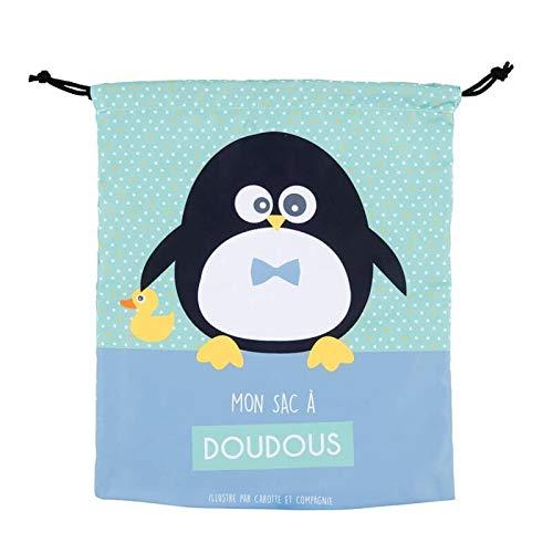 Derriere la Porte Stoffbeutel Turnbeutel für kleine Jungen - sac à doudou zen pingouin - Pinguin blau