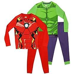 Marvel Pijamas para Niños 2 Paquetes Ajuste Ceñido Avengers 4-5 Años