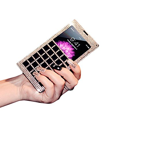 "D9Q Deluxe Bling Diamond PU Leder Folio Case Cover Skin Fall Hülle für Apple iPhone 6 4,7"" !!Schwarz"