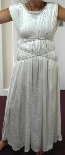 White Crushed Velvet Cleopatra/Roman Theme Costume. White Rope Waist Surround
