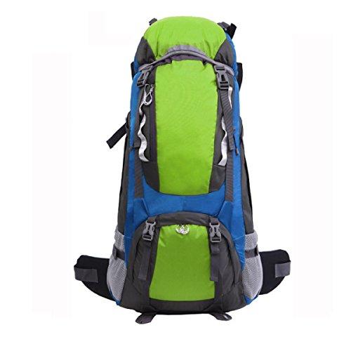 Yy.f Außenbergsteigen Rucksack Wasserdichtes Nylon Reiserucksack 65L Alurahmen Berg Taschen Rucksäcke Multifunktionaler Rucksack. Multicolor Green