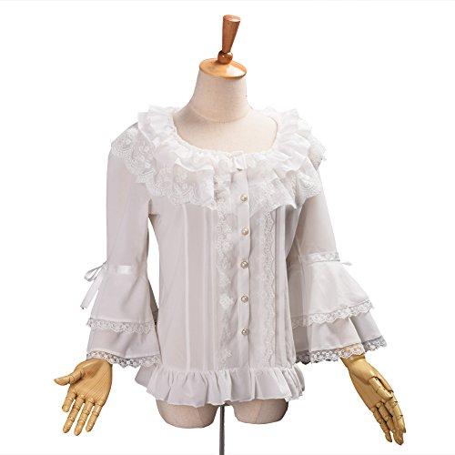 BLESSUME Damen Plissee Rock Rüsche Chiffon Retro Viktorianisch Lolita Bluse Weiß (XL) (Weiß, L) (Lolita Rock Plissee)